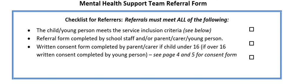 Mental Health Support Team Referral Form